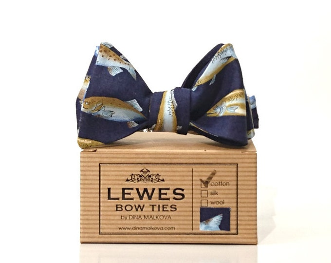 Trout fish print self tie bow tie | fishing gifts for men | gifts for man who loves fishing | fly fishing gifts | trout print bow tie blue