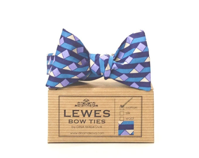 Blue and lilac graphic vintage liberty print cotton bow tie self tie bow tie, liberty print wedding bow tie, men's blue self tie bow tie