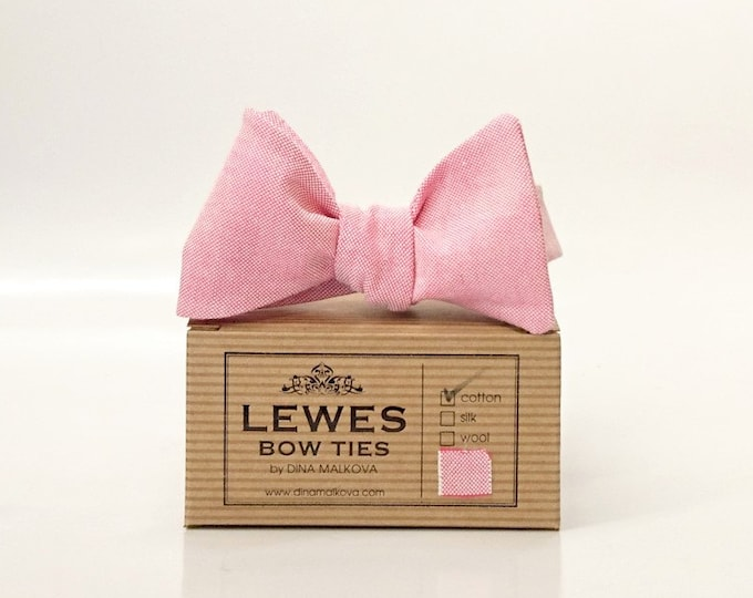 Pink chambray classic self tie bow tie