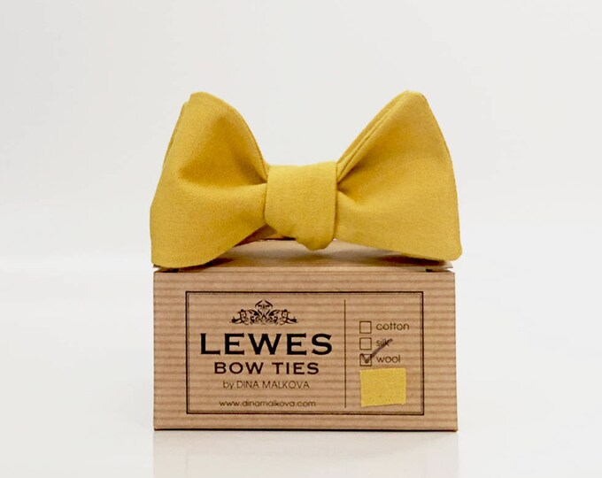 Mustard yellow textured finest wool self tie bow tie, mustard yellow bow tie, wedding self tie bow tie made from mustard yellow wool