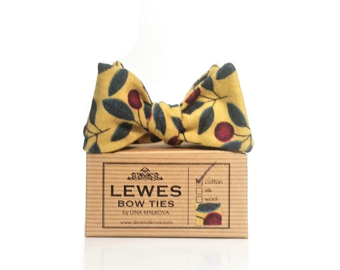 Mustard yellow self tie bow tie with lovely cherries print
