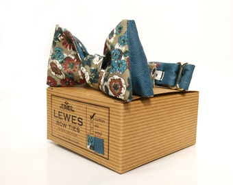 2 in 1 finest floral and teal blue cotton self tie bow tie | reversible bow tie