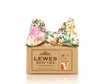 Floral self tie bow tie in pinks and corals ideal for weddings!