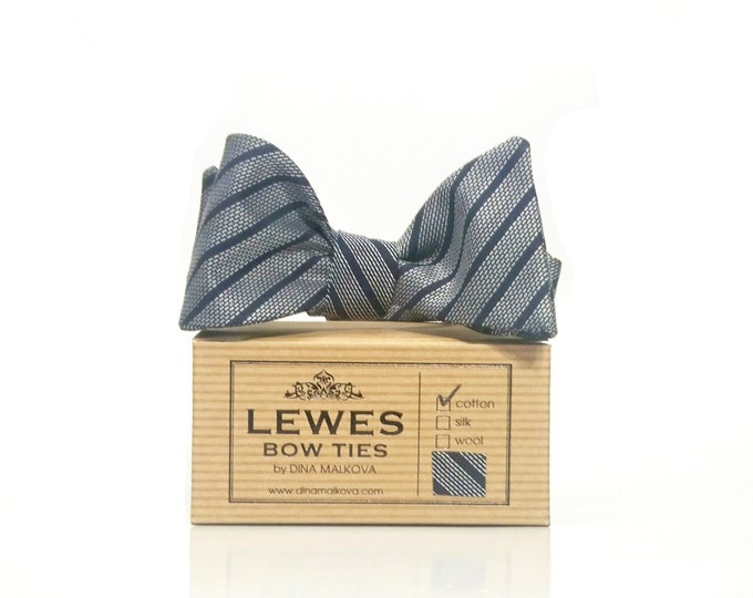 Navy classic striped self tie bow tie made from woven cotton fabric