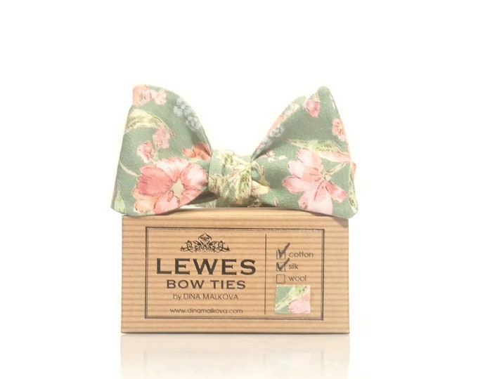 Sage green blush pink and peach floral wedding bow tie