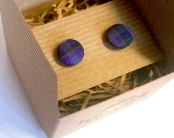 Men's cuff links blue purple Pride of Scotland tartan cuff links, wedding gifts, wedding cuff links, Christmas gift cuff links