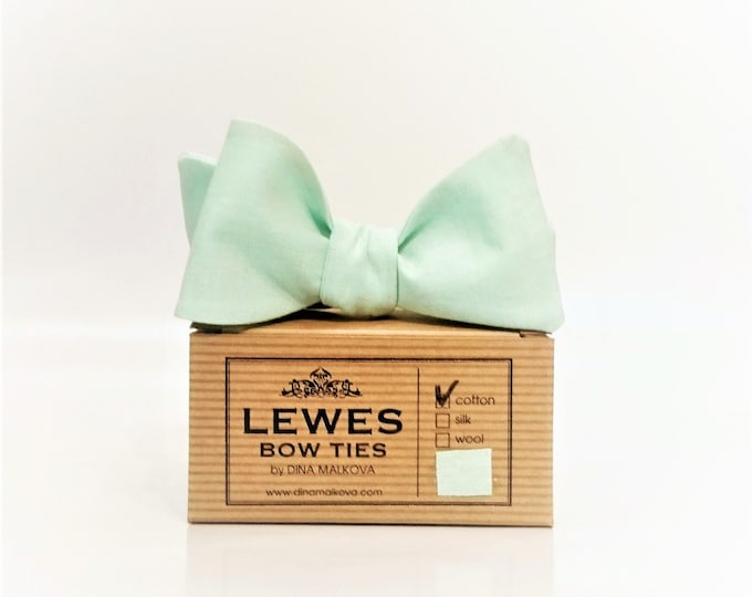 Mint green chambray self tie bow tie