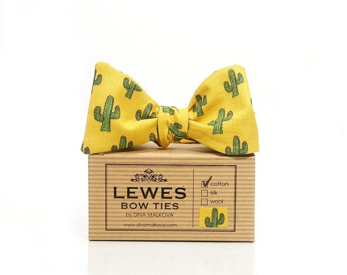 Mustard yellow cactus print self tie bow tie