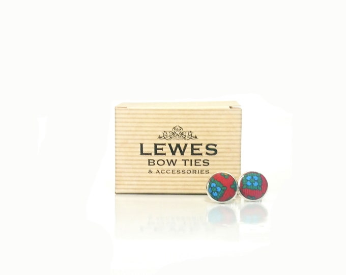 Men's cuff links in red and blue floral silk fabric