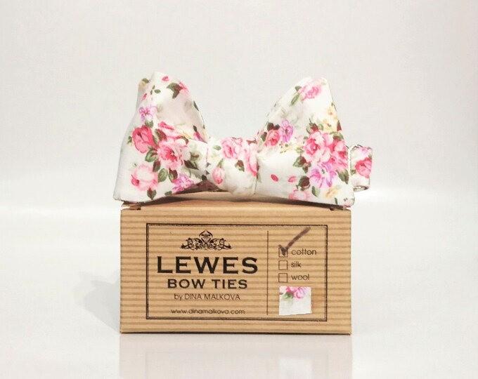 Ivory and pink floral self tie bow tie