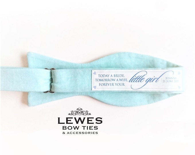 Personalised wedding bow tie patch Today a bride, tomorrow a wife, forever your little girl