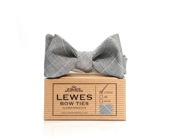 Classic grey checked cotton self tie bow tie