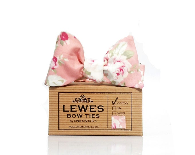 Pink peach and ivory romantic roses wedding bow tie | peach floral self tie bow tie with pink and ivory | romantic wedding pink bow tie