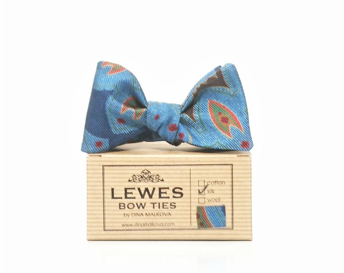Silk vintage paisley self tie bow tie in shades of blue and greens