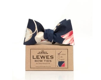 Navy blue coral and ivory floral cotton self tie bow tie | self tie bow tie navy blue with ivory and coral flowers | blue wedding bow tie