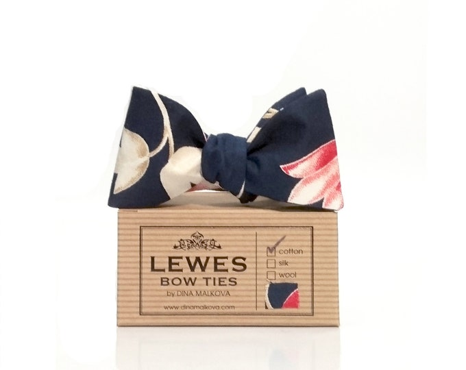 Navy blue coral and ivory floral cotton self tie bow tie