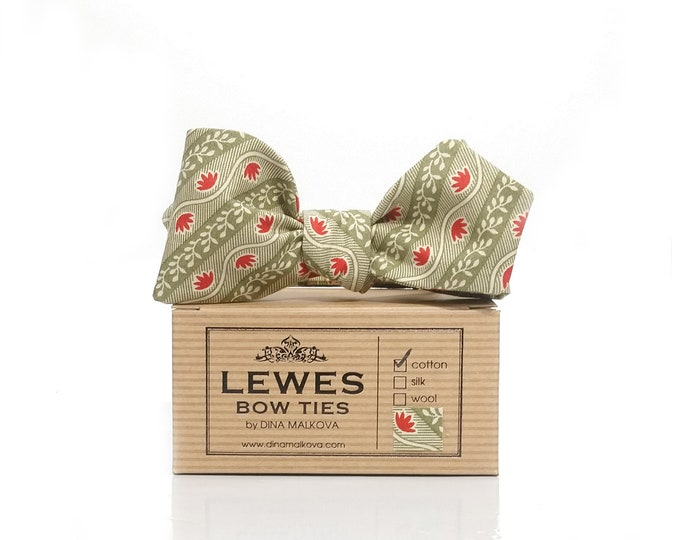 Olive green retro style diamond point self tie bow tie with tiny red flowers made from vintage finest cotton fabric