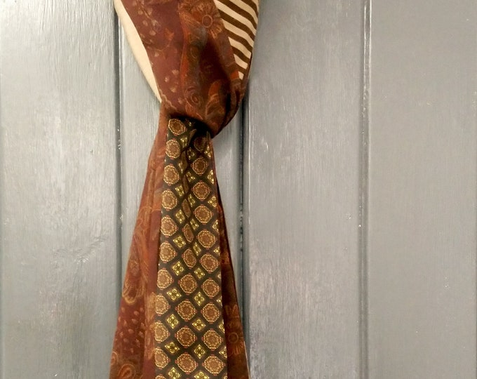 Men's rusty orange and brown narrow patchwork scarf made from vintage cotton and silk fabric