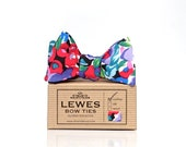Self tie bow tie in purple, red, lilac and blue and teal abstract floral print, men's self tie bow tie in purples and blues, reds and lilac
