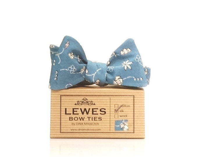 Dusty blue self tie bow tie made from Japanese handpainted silk fabric