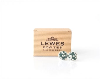 Men's cuff links in green floral silk fabric