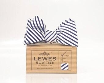 Navy blue thin stripe self tie bow tie, nautical bow tie, nautical wedding bow tie, seaside wedding bow tie, summer bow tie, striped bow tie