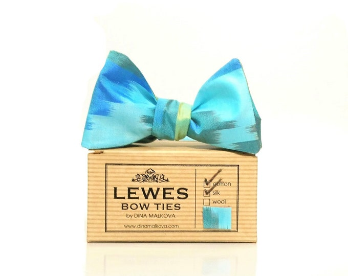 Aqua blue and green ikat vintage silk self tie bow tie