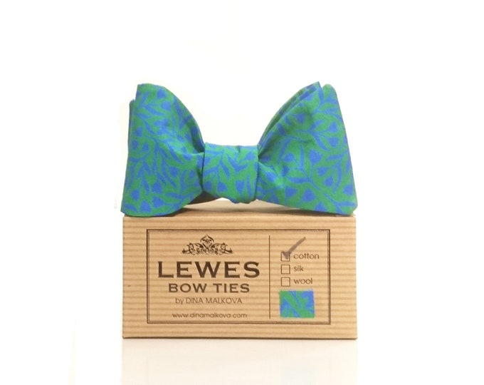 Blue and green mini floral self tie bow tie