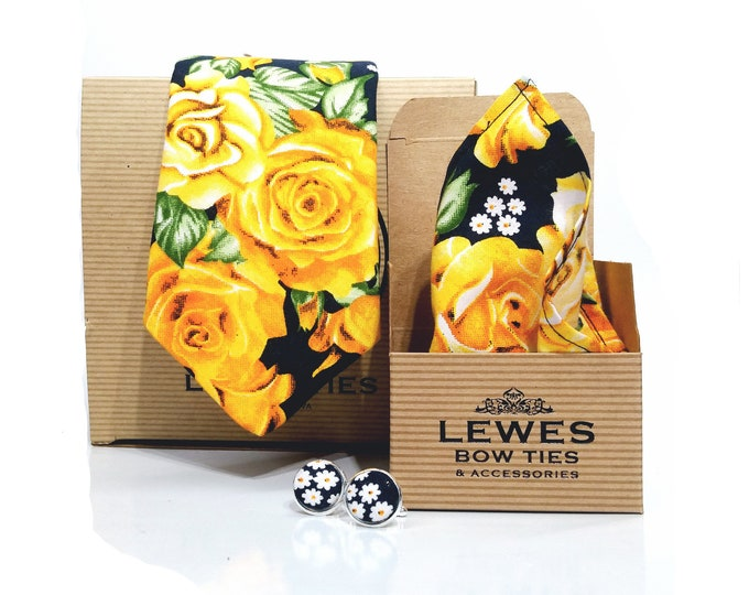 Mustard yellow and black set of necktie, matching pocket square, matching cuff links made from beautiful bright yellow roses cotton fabric