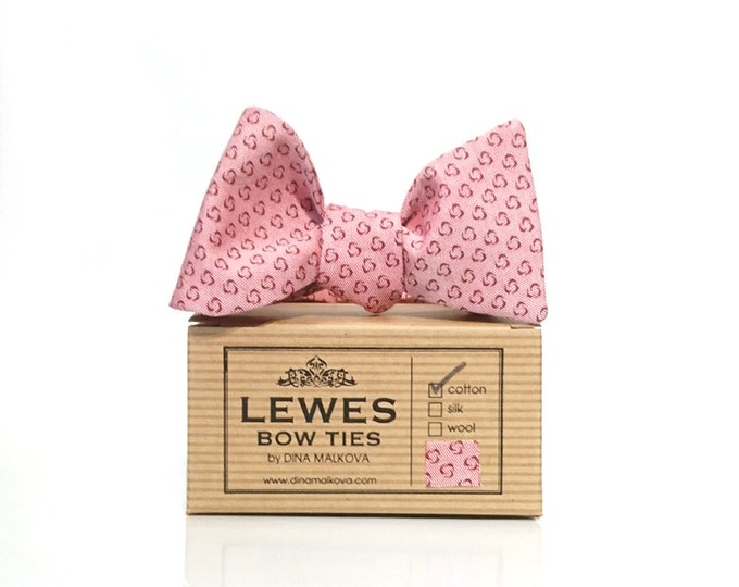 Pink chambray self tie bow tie with tiny dots