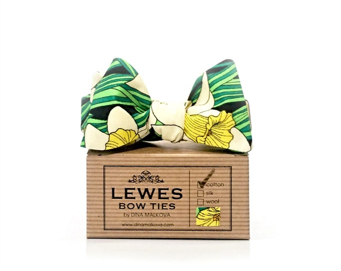 Yellow and Green Daffodil print self tie bow tie