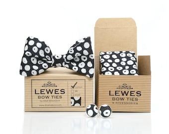 Black and white set of bow tie pocket square and cuff links made from finest cotton