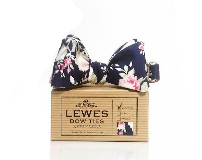Wedding bow tie navy blue pink and ivory roses