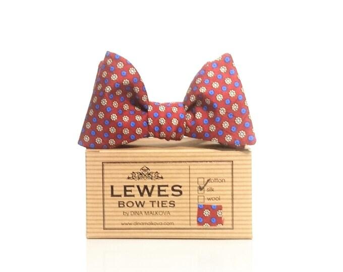 Dark red with navy blue dots vintage silk self tie bow tie   classic dark red vintage silk men's self-tie bow tie   silk self tie bow tie