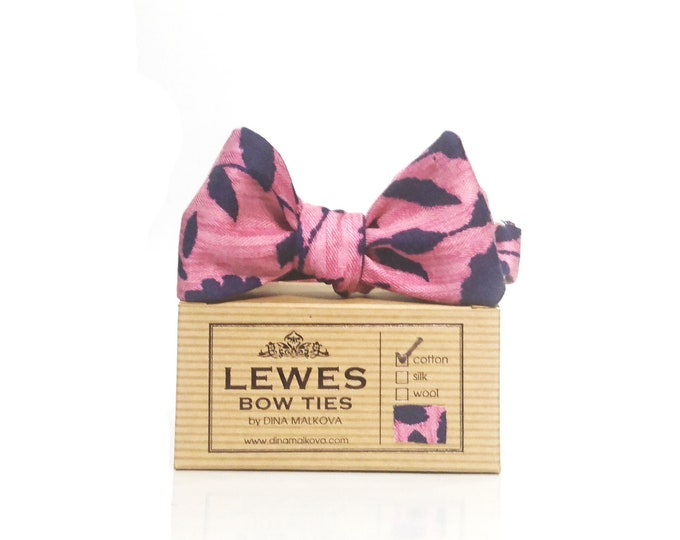 Pink and navy blue floral chambray self tie bow tie