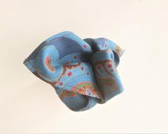 Mens pocket square blue green paisley vintage silk