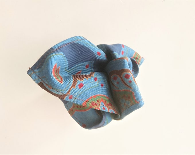 Mens pocket square blue green paisley vintage silk