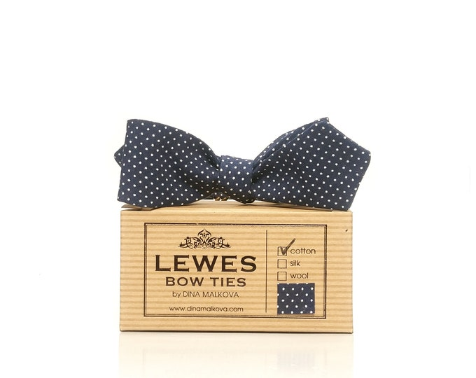 50s style diamond point polka dot self tie bow tie made from navy blue vintage cotton with mini white dots