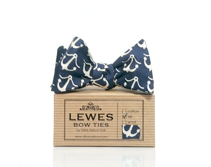 Navy blue and ivory anchor print vintage silk self tie bow tie | classic nautical silk anchor bow tie for men