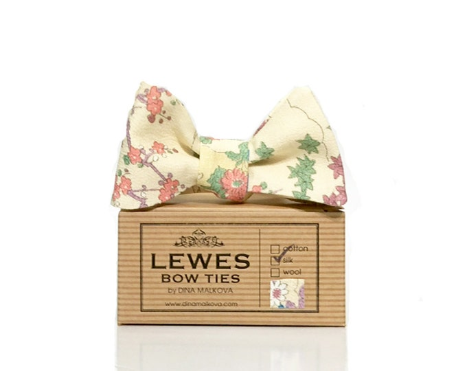 Self tie bow tie in ivory floral silk - men's ivory silk bow tie - men's self tie bow tie in ivory floral silk - men's floral bow tie