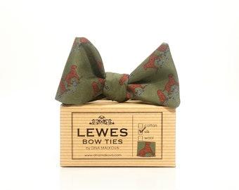 Moss green dogs print silk twill self tie bow tie | moss green country side autumnal self tie bow tie in silk fabric