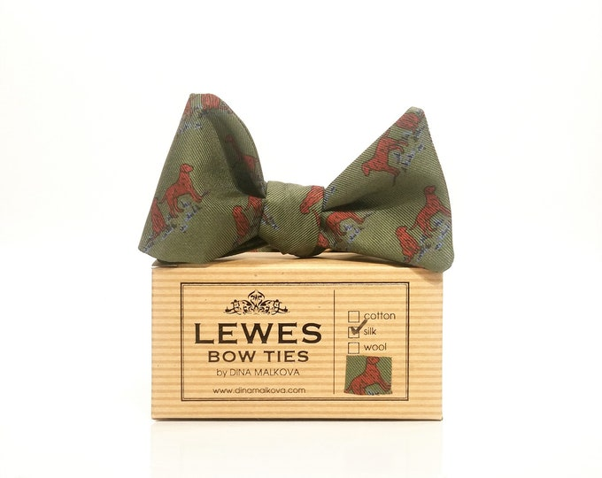 Moss green dogs print silk twill self tie bow tie | moss green country side autumnal self tie bow tie in silk fabric