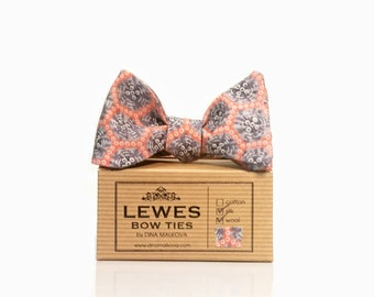 Grey and peach self tie bow tie - peach and grey self tie bow tie - wedding bow tie in peach and grey - peach wedding self tie bow tie