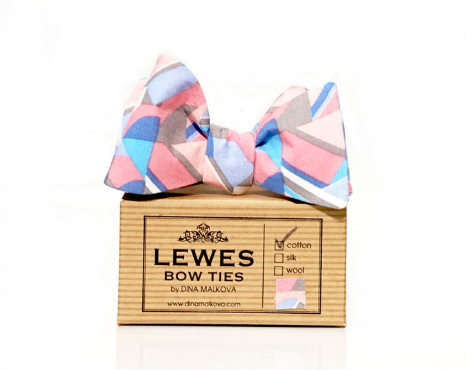 Self tie bow tie in peach and dusty blue abstract print, self tie bow tie for men dusty blue and peach geometric print
