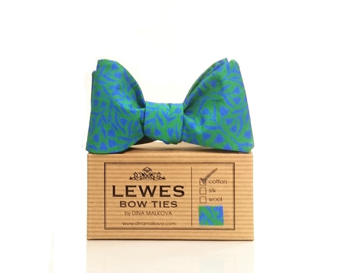 Teal and green mini floral self tie bow tie