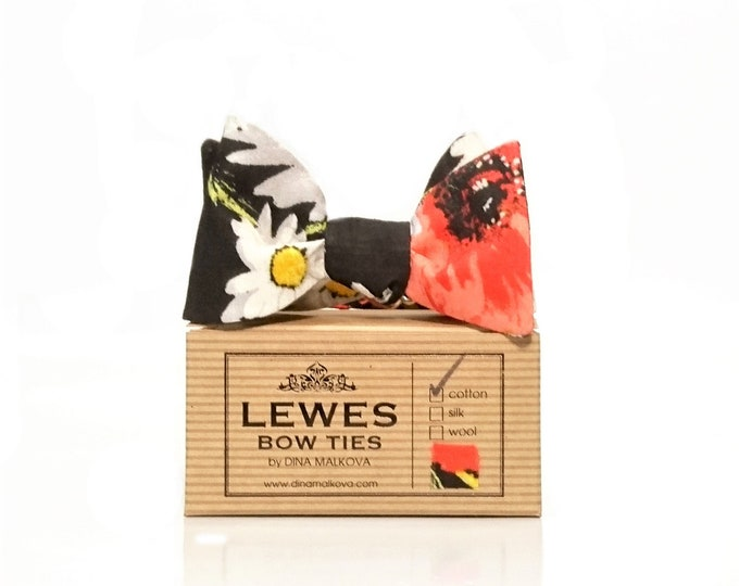 Poppy on black self tie bow tie with white and daisy print