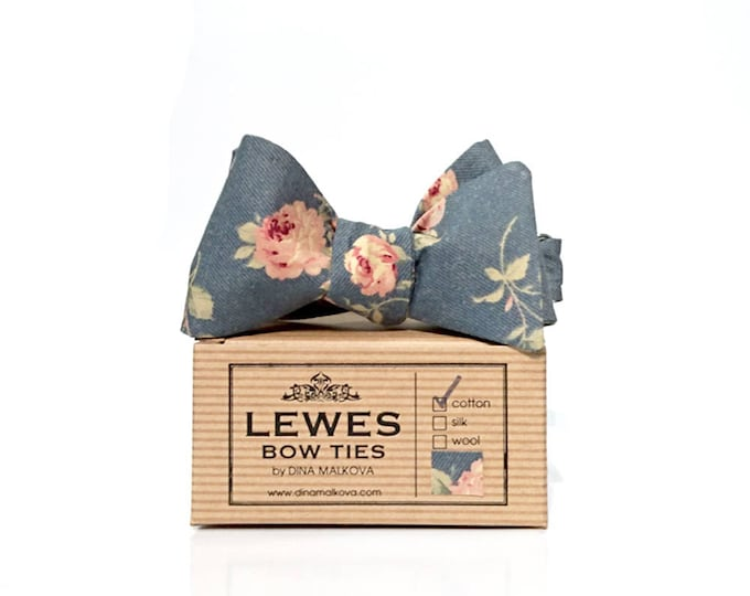 Peach roses on grey self tie bow tie made from finest cotton