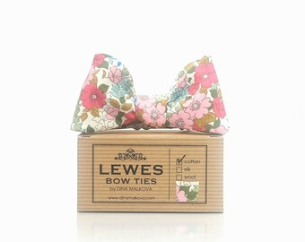 Pink and blue wedding bow tie with charming floral print