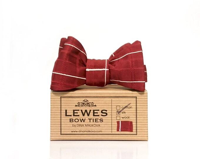 Burgundy wine silk self tie bow tie - Japanese hand painted burgundy silk bow tie - wine silk bow tie - men's self tie bow tie in wine silk
