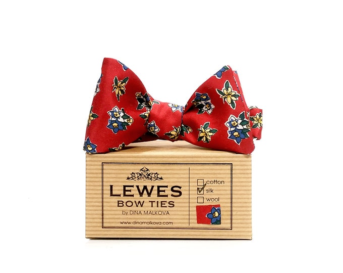 Vintage red floral silk twill self tie bow tie with tiny floral weave of navy blue and a touch of mustard yellow
